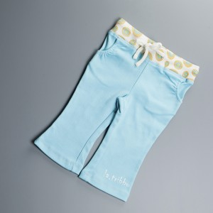 Pantalon Turquoise pour fille, élastique, coton biologique