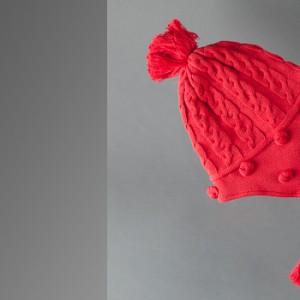p394 IRIS Bonnet tricoté RED H10